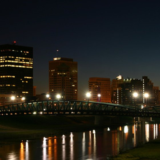 Dayton, Ohio, at night.