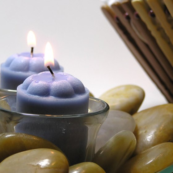 Aromatherapy candles and massage stones