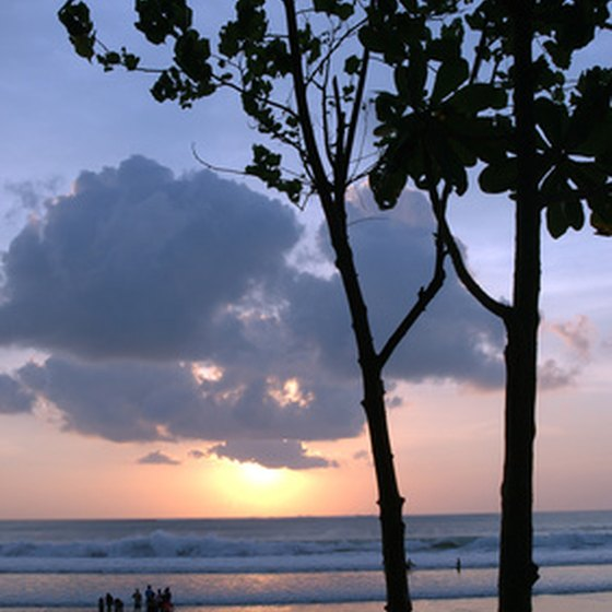 Sunset over the beach in Bali.