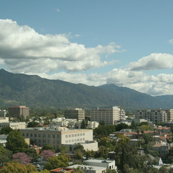 Pasadena gleams in the California sun against the San Gabriel Mountains.