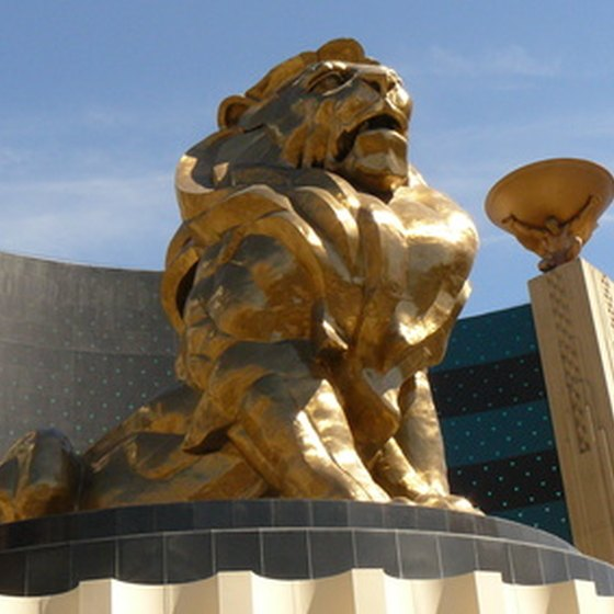 A lion stands guard outside MGM Grand in Las Vegas.