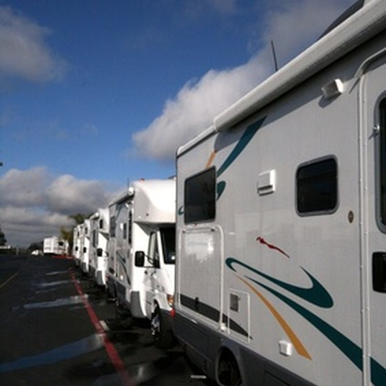 RVs waiting to set up camp