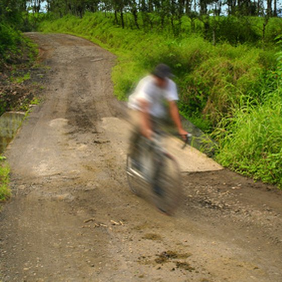 Roads are often unpaved in the Costa Rican countryside.