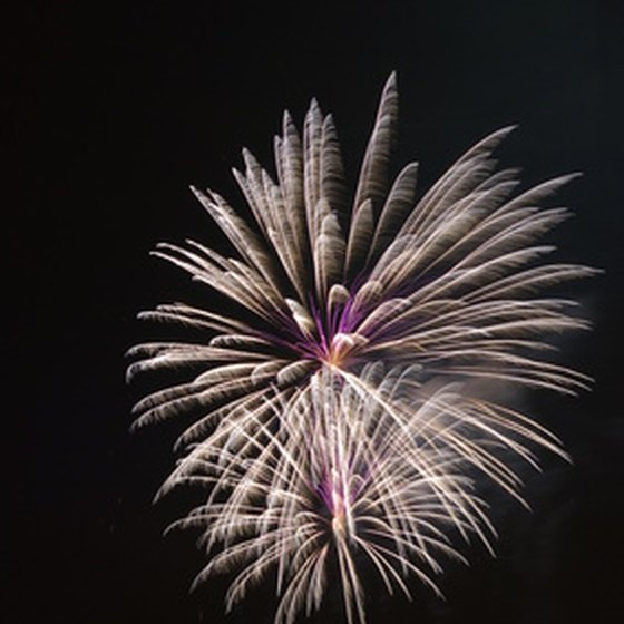 Fireworks explode over the ocean at Wrightsville Beach's holiday festival.