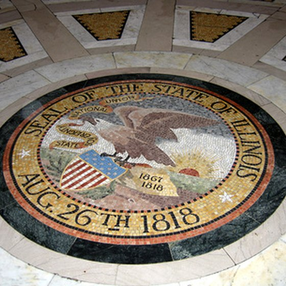 The seal of the state of Illinois can be found on flags and in state buildings throughout the state.