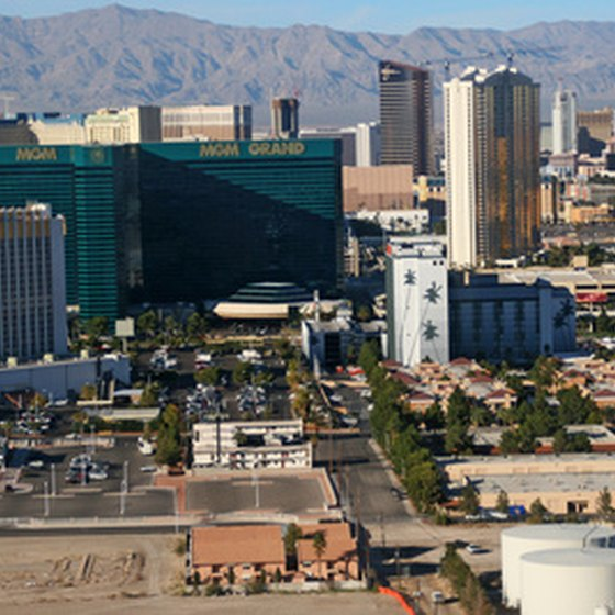 View of MGM Grand and other Las Vegas hotels.