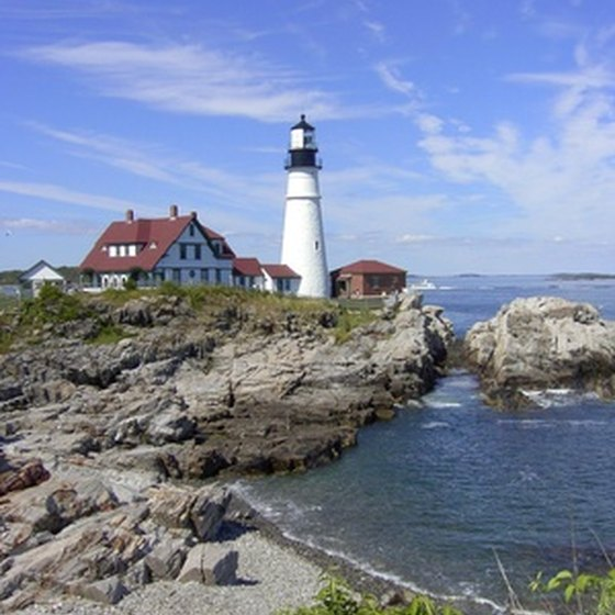 Lighthouses dot the rockbound coast of southern Maine.