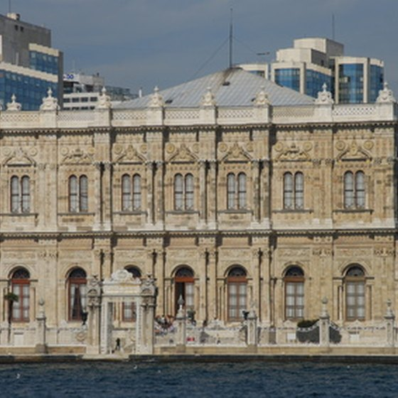 Ottoman palaces and modern buildings line Istanbul's Bosporus Straight.