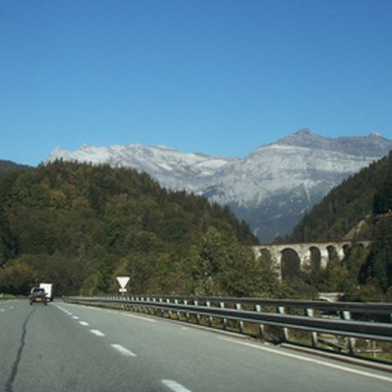 An autoroute intersecting the French Alps.
