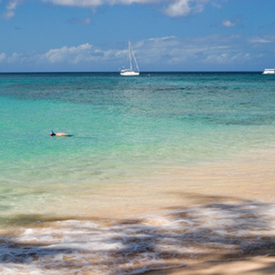 Barbados features extensive white sand beaches.