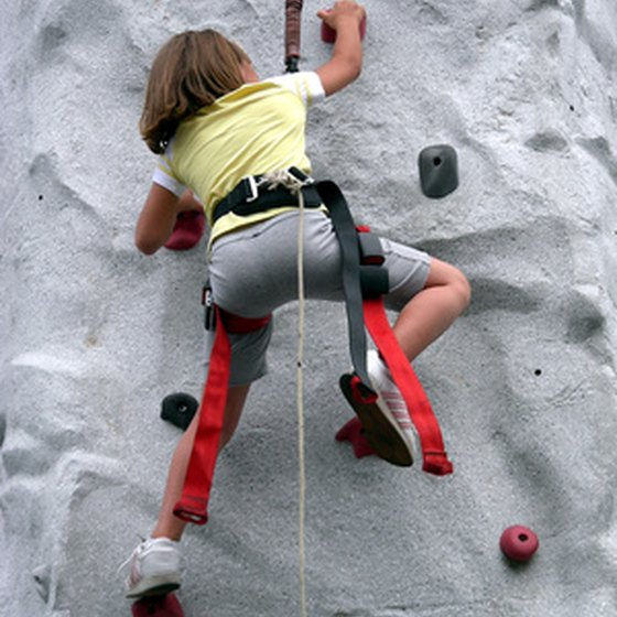 Rock climbing is a common team building activity.
