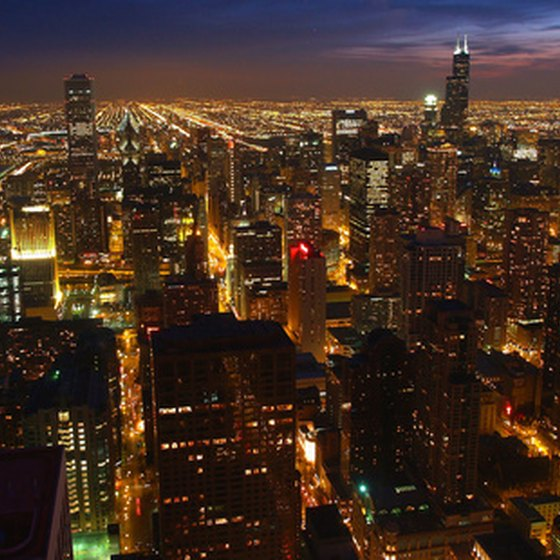 A view of Chicago at night.