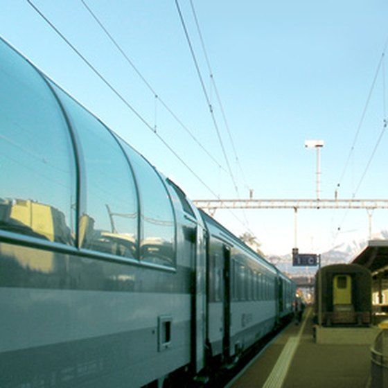 Swiss scenic trains often have panoramic cars with big windows ideal for sightseeing.