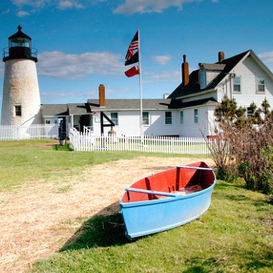 Historic lighthouses, like the Pemaquid Point Lighthouse in Bristol, dot coastal Maine.