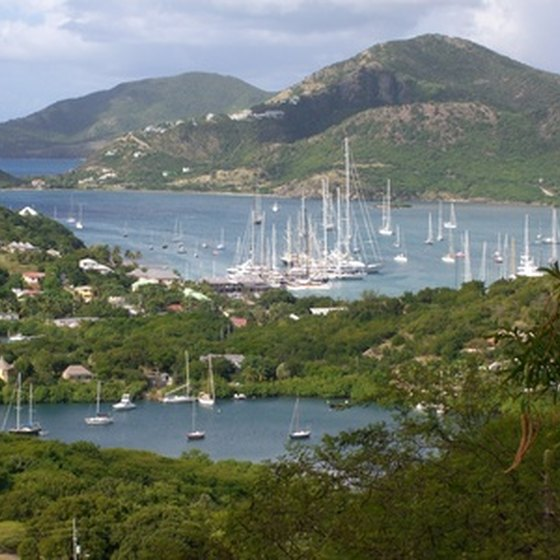 Hundreds of sailboats gather at a bay in Antigua, one of the most visited Caribbean islands.