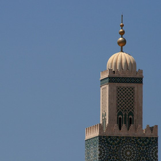 A Moroccan minaret overlooks the African country