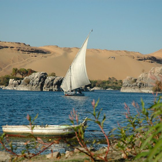 A felucca, or Egyptian sailboat, is a common site you will see while cruising the Nile River.