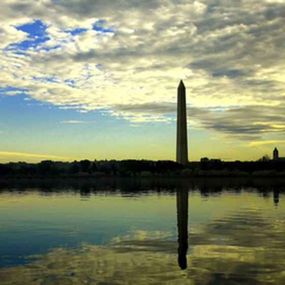 The Washington Monument rises 555 feet in the center of the National Mall.