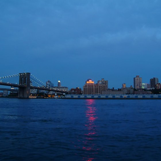 Brooklyn Bridge, with Brooklyn and the East River.