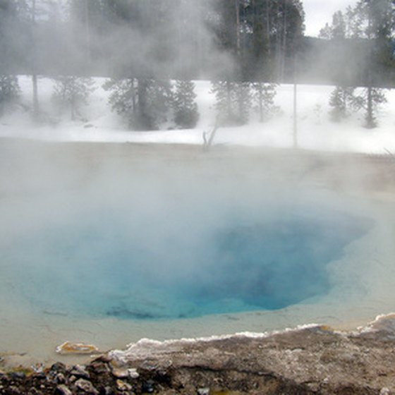 A Yellowstone hot pot in winter