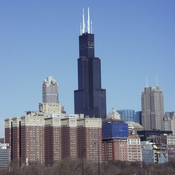 The Chicago skyline on a sunny day.