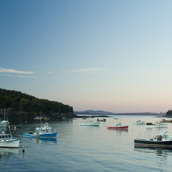 Maine fishing boats resting before heading out for a day of fishing.