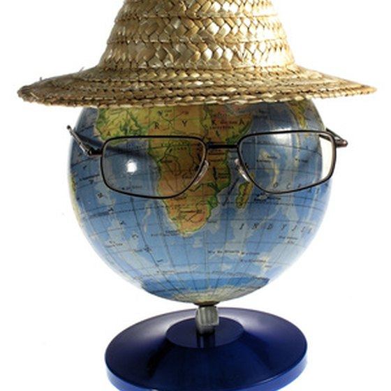 A globe waits to welcome vacationers.