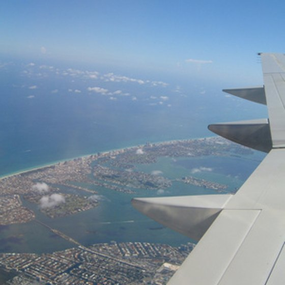 Miami skyline from a plane.