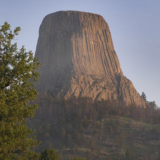 Devils Tower, a single block of igneous rock, looms over the Wyoming skyline.