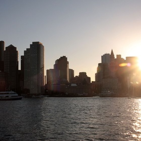 Dinner cruises in Boston, Massachusetts provide sunset and moonlight skyline views.