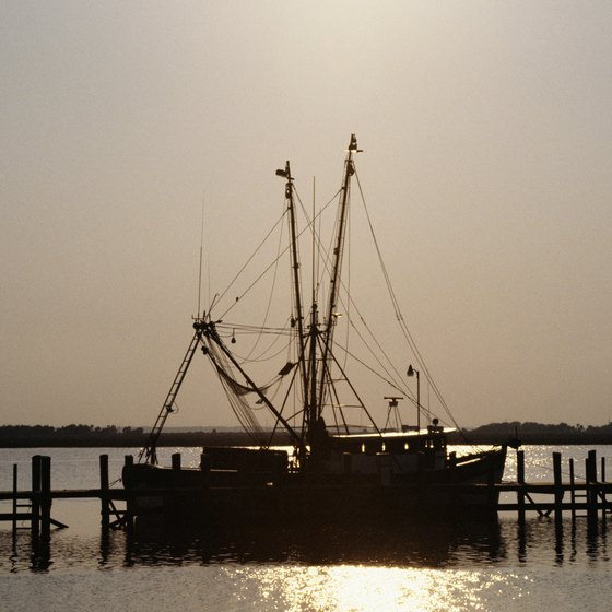Fishing boats cruise the coastal waters near Jekyll Island.