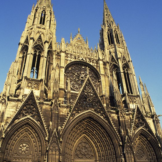 The Church of St. Ouen in Rouen, Normandy, is one of the sites you can see on a bicycle tour of Normandy.