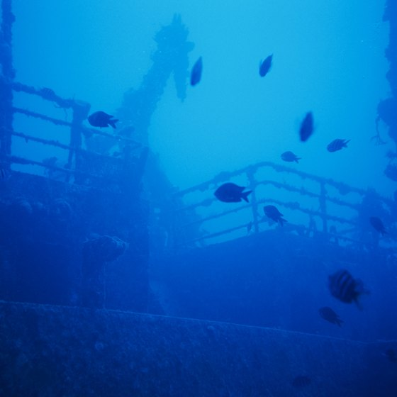 Shipwrecks are popular dive sites in waters off Topsail Island.