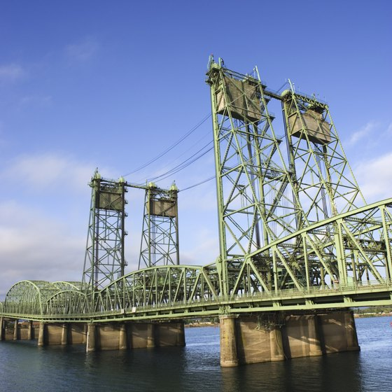 A bridge across the Columbia River divides Vancouver from Portland.
