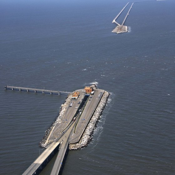 The Bay Bridge Tunnel Crosses Chesapeake North Of Virginia Beach