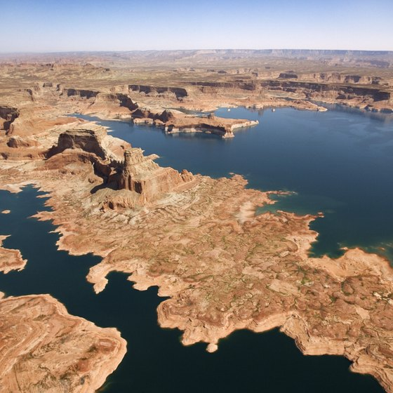 The narrow canyons of Lake Powell can be seen from the air.