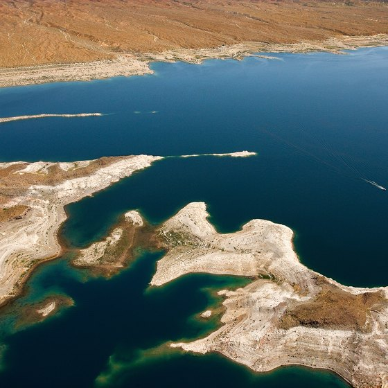 The remains of St. Thomas, Nevada, lie submerged under Lake Mead.