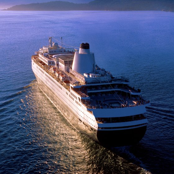 A cruise ship plies the waters off the coast of Vancouver.