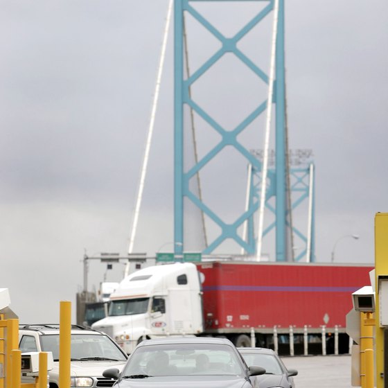 The Ambassador Bridge in Detroit is one of many U.S.-Canada border crossings in Michigan.