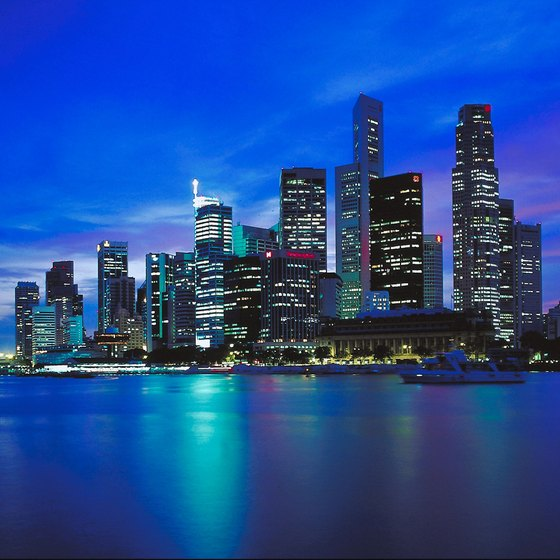 The Singapore skyline looks great from the shore of a next-door island.