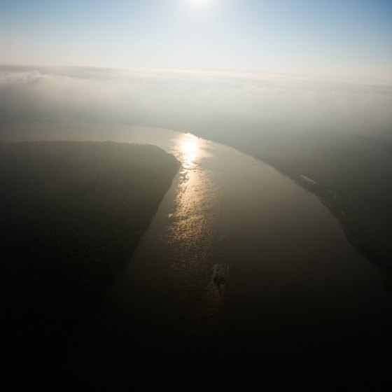The Mississippi runs approximately 2,320 miles from Minnesota to below New Orleans.
