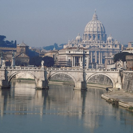 A springtime view of St. Peter's Basilica from the Tiber River.
