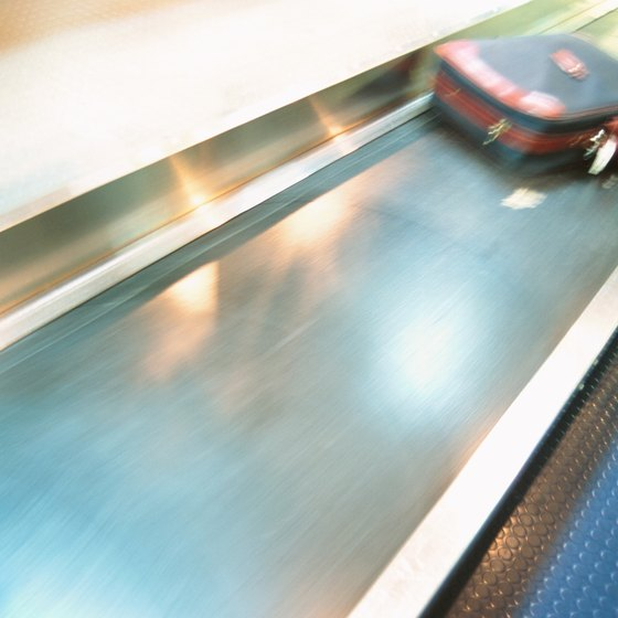 A unique suitcase is easy to spot on the baggage carousel.