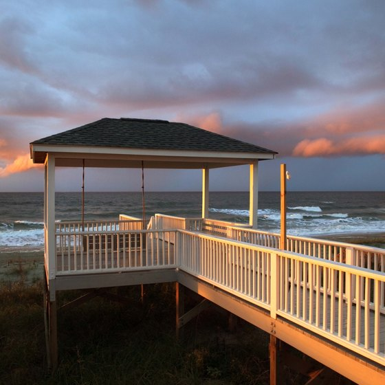 The gazebo and pier connect to the waters of Oak Island, North Carolina.