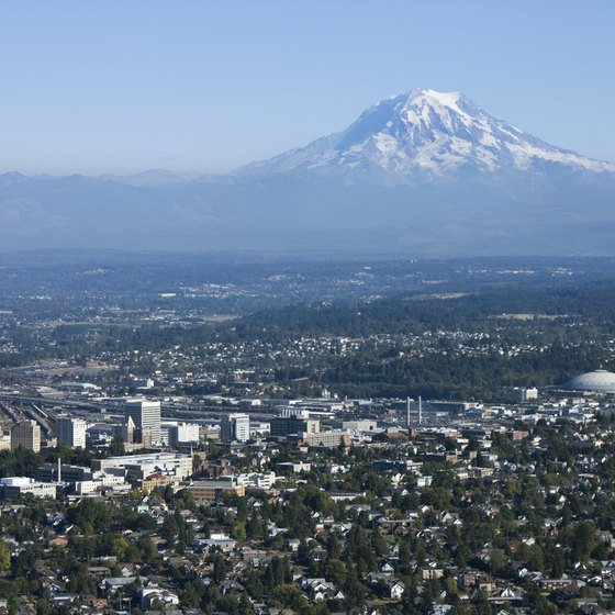 Mount Rainier reigns over the city of Tacoma.