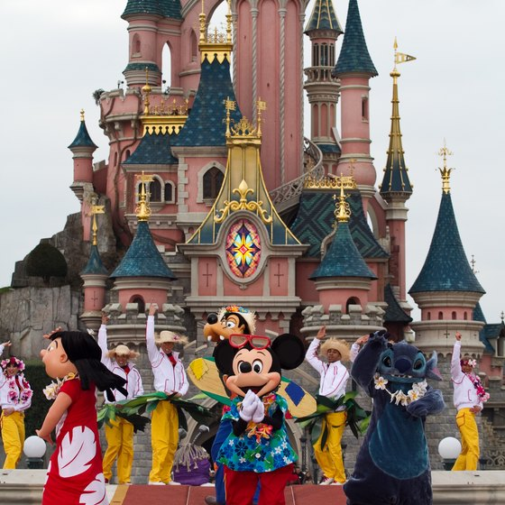 Classic Disney characters await visitors to Disneyland Paris.