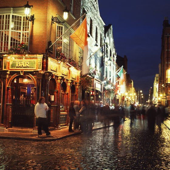 The famous Temple Bar area of Dublin welcomes visitors in all kinds of weather.