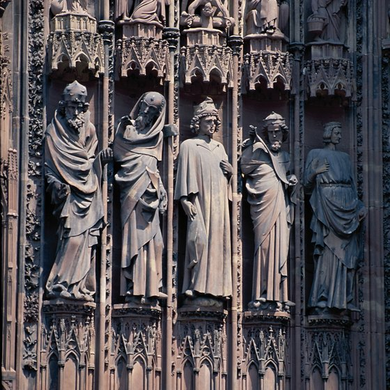 Ornate cathedral carvings are part of Strasbourg's heritage.