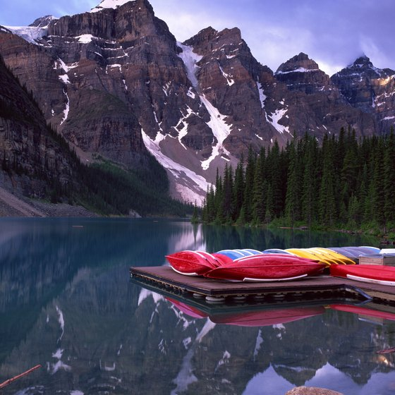 Hikers can trek along lakes and through pine forests in the Canadian Rockies along Alberta's western border.
