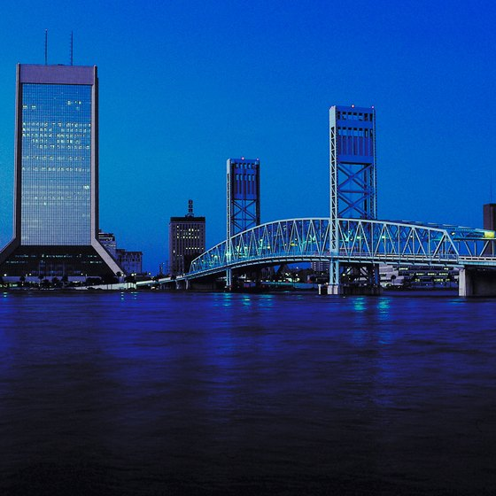 Many large bridges cross the river into Jacksonville.